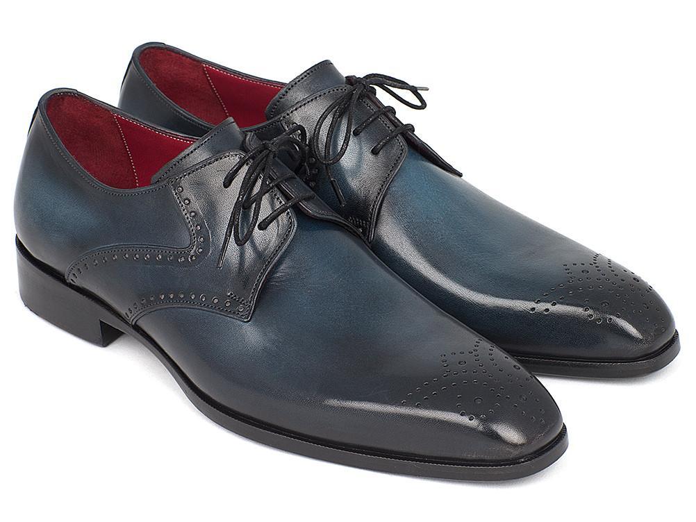 Paul Parkman Men's Navy & blu Medallion Toe Derby scarpe (ID 6584-NAVY)
