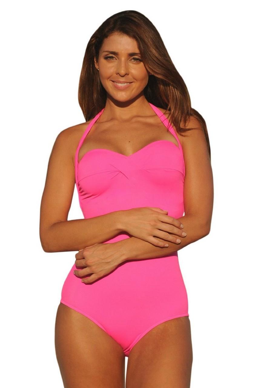 ff29c2ca7b SNT Ujena Ujena Hot Pink Neon Monroe Long Torso 1-PC Swimsuit