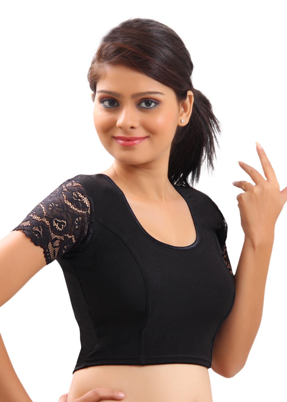 9ec1a473b72fb6 Stretchable Black Ready-made Saree Blouse Sari Choli Lycra Crop Top ...