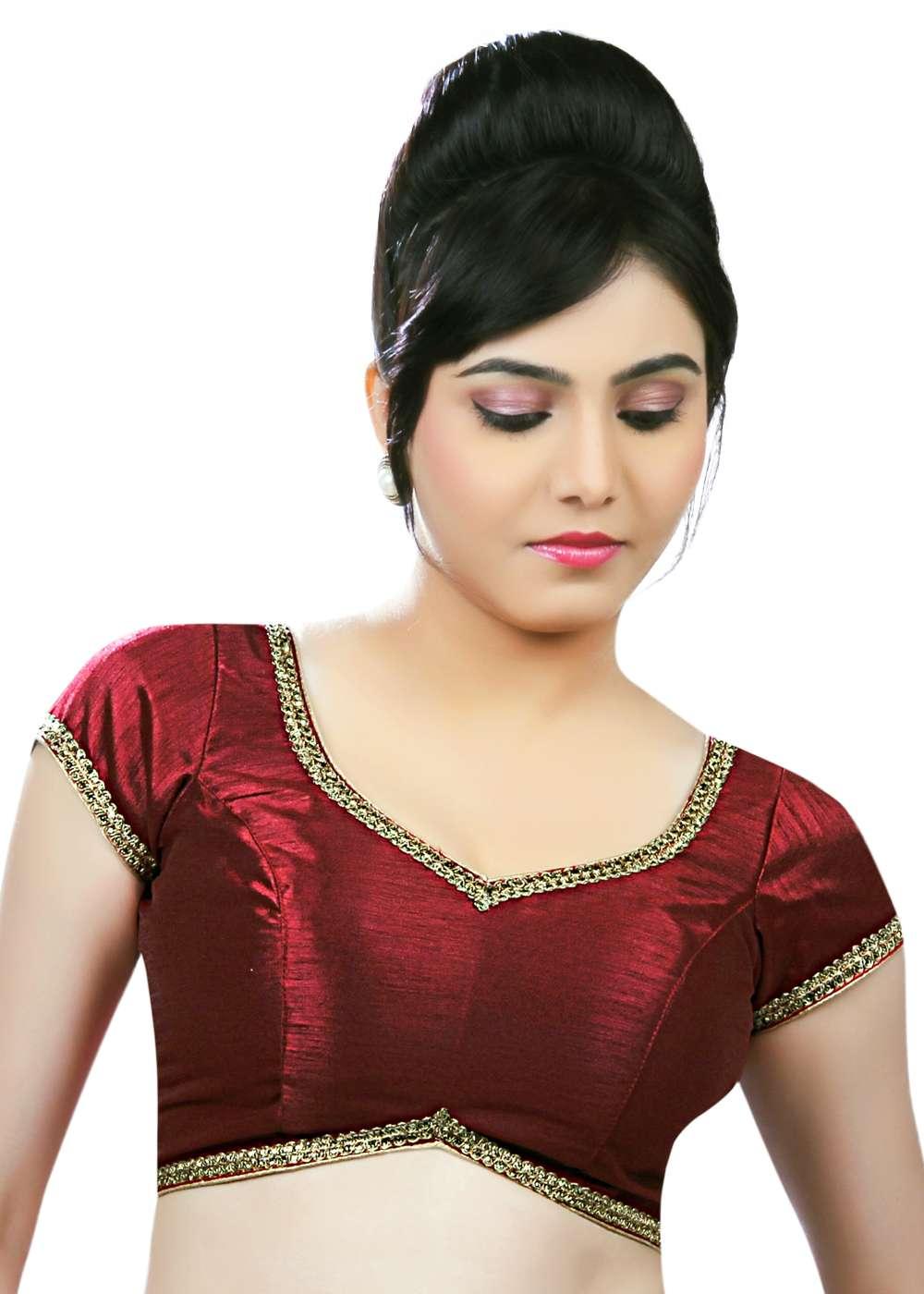4f0217b0a0193 Golden Lace Border Maroon Dupian Silk Saree Blouse Sari Choli - X ...