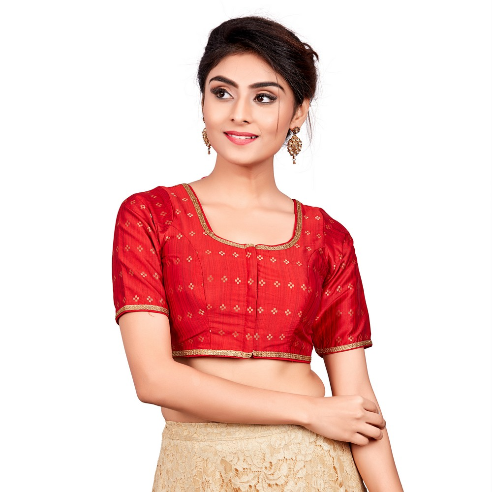 Ready to Wear Blouse Red Dupion Silk /& Small Sleeves Blouse Ready made Saree Blouse Sari Blouse Choli Indian Saree Blouse